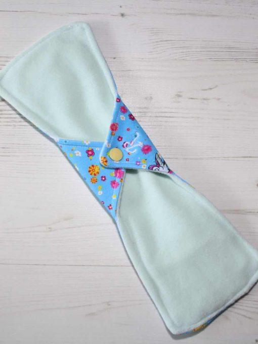 "12"" Regular Flow cloth pad | Rosebird Cotton Jersey | Mint Wind Pro Fleece | Luna Landings | Double Flare"