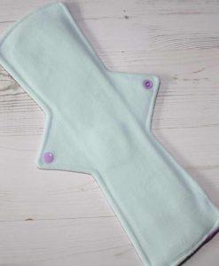 14″ Regular Flow cloth pad | Atomic Glitter Cotton Jersey | Mint Wind Pro Fleece | Luna Landings | Double Flare