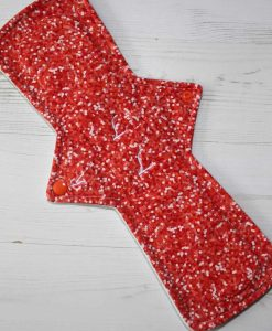 14″ Regular Flow cloth pad | Coral Glitter Cotton Jersey | Mint Wind Pro Fleece | Luna Landings | Double Flare