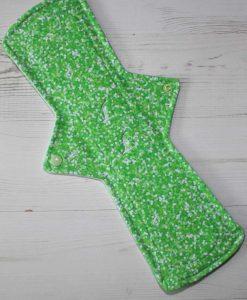 """14"""" Regular Flow cloth pad   Green Glitter Cotton Jersey   Mint Wind Pro Fleece   Luna Landings   Double Flare"""
