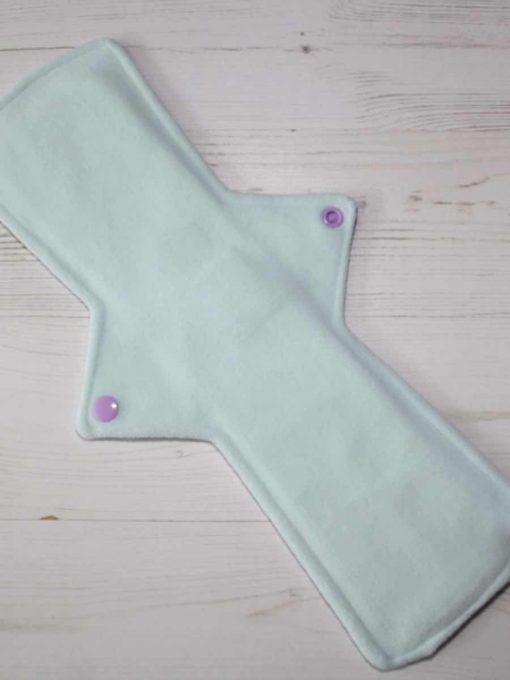 14″ Regular Flow cloth pad | Lilac Glitter Cotton Jersey | Mint Wind Pro Fleece | Luna Landings | Double Flare
