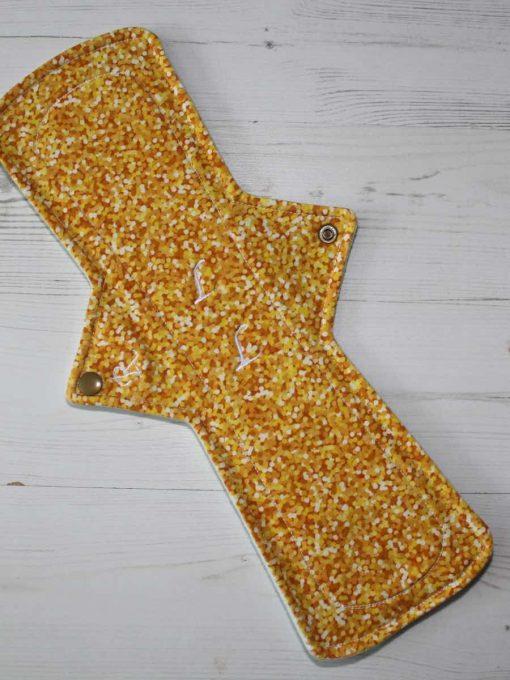 14″ Regular Flow cloth pad | Yellow Glitter Cotton Jersey | Mint Wind Pro Fleece | Luna Landings | Double Flare