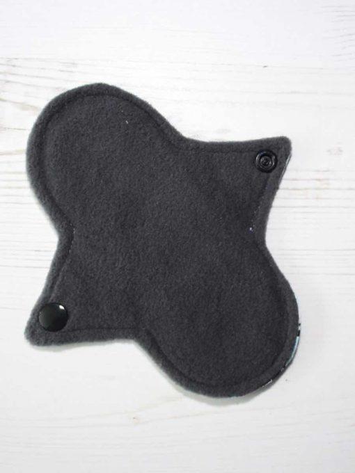 "6"" Regular Flow cloth pad | Penguins on Blue Cotton | Grey Wind Pro Fleece | Luna Landings | Sub"