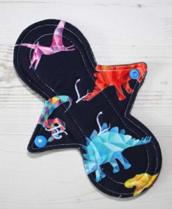 8″ Heavy Flow cloth pad | Crystal Dinosaurs Cotton Jersey | Charcoal Wind Pro Fleece | Luna Landings | Slim Sub
