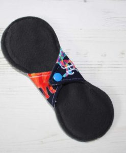 8″ Heavy Flow cloth pad | Crystal Dinosaurs Cotton Jersey | Charcoal Wind Pro Fleece | Luna Landings | Slim Sub