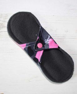 8″ Regular Flow cloth pad | Pink Camo Cotton Jersey | Grey Wind Pro Fleece | Luna Landings | Sub