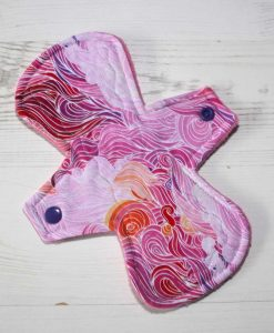 8″ Regular Flow cloth pad | Pink Swirls Cotton Jersey | Pink Polar Fleece | Crafty Mrs B |
