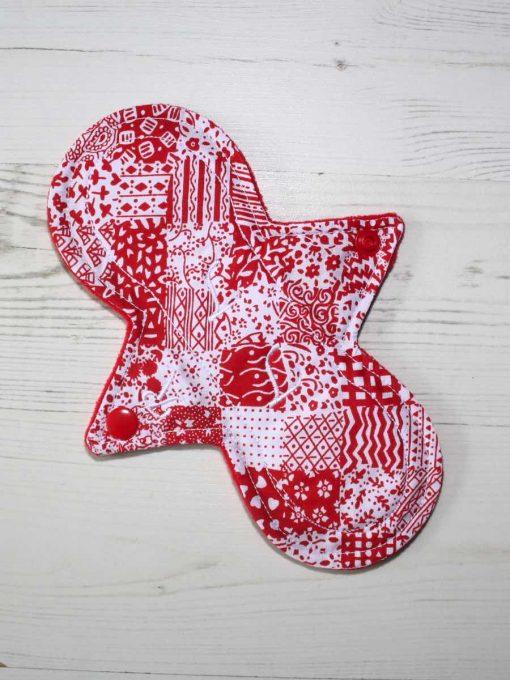 "8"" Regular Flow cloth pad   Red Patchwork Cotton   Red Wind Pro Fleece   Luna Landings   Slim Sub"