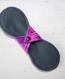 9″ Heavy Flow cloth pad | Purple Rain Plush | Grey Wind Pro Fleece | Luna Landings | Slim Sub