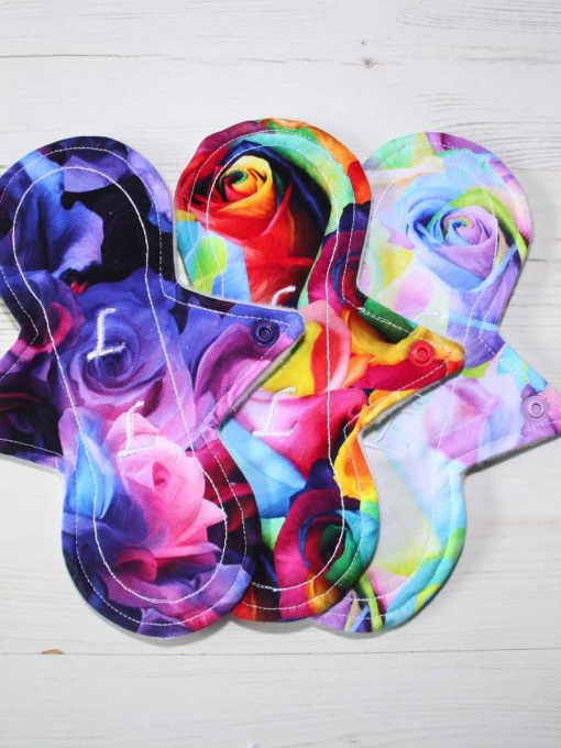 "Cloth Pad Starter Set - 3 x 8"" Slim Sub Liner | Bunch of Roses"