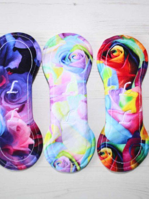 "Cloth Pad Starter Set - 3 x 8"" Slim Sub Liner   Bunch of Roses"