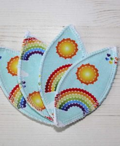 Rainbows on Mint Interlabial pads - set of 4