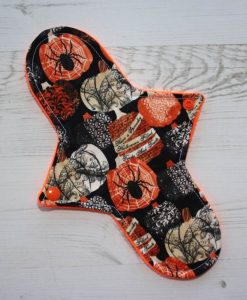 10″ Liner cloth pad | Halloween Cotton | Orange Soft Shell | Luna Basics | Sub