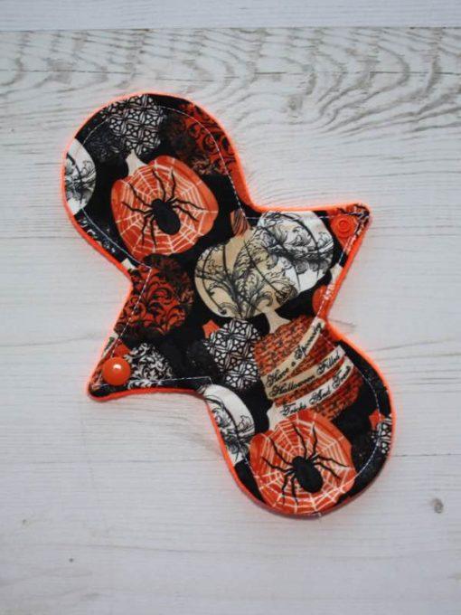 "8"" Liner cloth pad | Halloween Cotton | Orange Soft Shell | Luna Basics | Slim Sub"