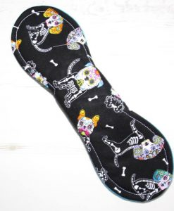10″ Heavy Flow cloth pad   Day of the Dead Dogs Cotton   Blue Soft Shell   Luna Landings   Slim Sub