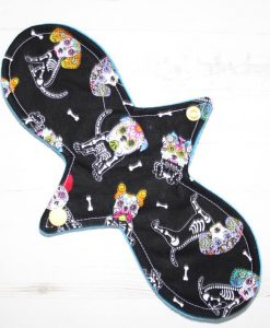 10″ Regular Flow cloth pad | Day of the Dead Dogs Cotton | Blue Soft Shell | Luna Landings | Slim Sub