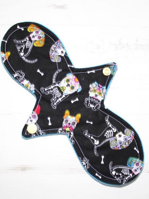 "10"" Regular Flow cloth pad | Day of the Dead Dogs Cotton | Blue Soft Shell | Luna Landings | Slim Sub"
