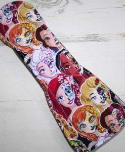 12″ Heavy Flow cloth pad | Day of the Dead Princesses Cotton Jersey | Grey Wind Pro Fleece | Luna Landings | Flared Sub