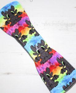 14″ Heavy Flow cloth pad   Toothless Rainbow Cotton Jersey   Grey Wind Pro Fleece   Luna Landings   Double Flare