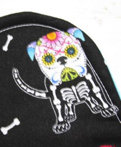 8″ Heavy Flow cloth pad | Day of the Dead Dogs Cotton | Blue Soft Shell | Luna Landings | Slim Sub