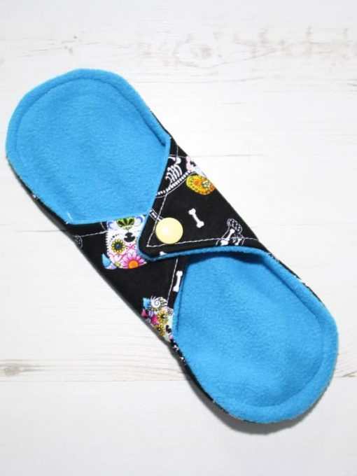 """8"""" Heavy Flow cloth pad   Day of the Dead Dogs Cotton   Blue Soft Shell   Luna Landings   Sub"""