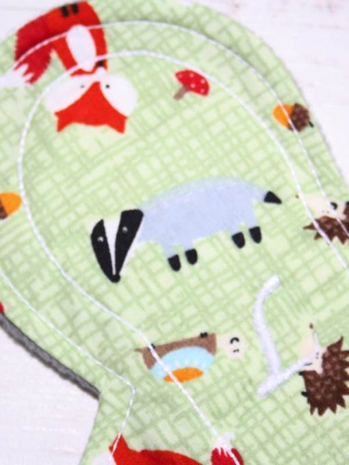 8″ Liner cloth pad | Forest Critters Cotton | Grey Soft Shell | Luna Landings | Slim Sub