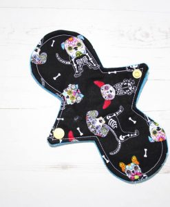 8″ Regular Flow cloth pad | Day of the Dead Dogs Cotton | Blue Soft Shell | Luna Landings | Slim Sub