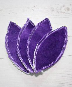 Purple Cotton Velour Interlabial pads - set of 4