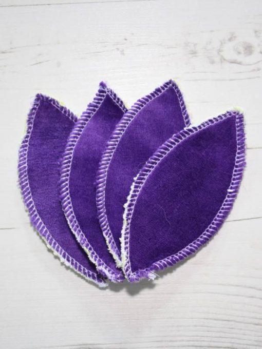 Purple Cotton Velour Interlabial pads - set of 4