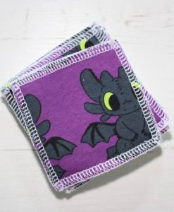 Purple Toothless Make-up remover wipes - set of 5