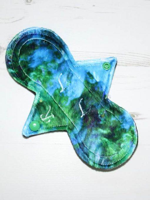 "8"" Regular Flow cloth pad   Phoenix Plush   Black Organic Cotton Fleece   Luna Landings   Slim Sub"