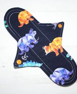 "10"" Regular Flow cloth pad | Crystal Dinosaurs Cotton Jersey | Blue Wind Pro Fleece | Luna Landings | Sub"