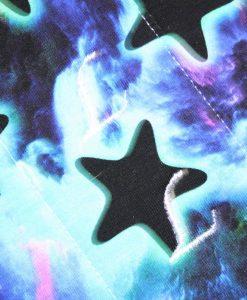 """12"""" Heavy Flow cloth pad   Majestic Spells Stars Cotton Jersey   Black Wind Pro Fleece   Luna Landings   Double Flare"""