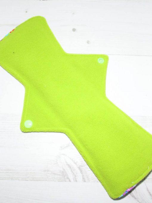 "12"" Overnight Extra Heavy Flow cloth pad | Neon Galaxy Cotton Jersey | Green Wind Pro Fleece | Luna Landings | Double Flare"