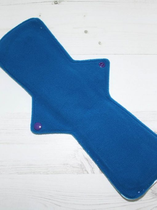 "14"" Overnight Extra Heavy Flow cloth pad | Unicorns Cotton Jersey | Blue Wind Pro Fleece | Luna Landings | Double Flare"