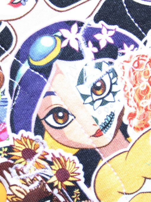 6″ Regular Flow cloth pad | Day of the Dead Princesses Cotton Jersey | Lemongrass Wind Pro Fleece | Luna Landings | Slim Sub