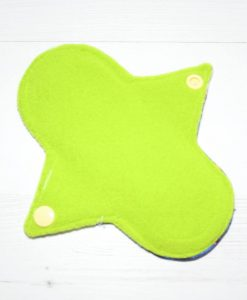 6″ Regular Flow cloth pad | KaleidoSmoke Firewater Cotton Jersey | Green Wind Pro Fleece | Luna Landings | Sub