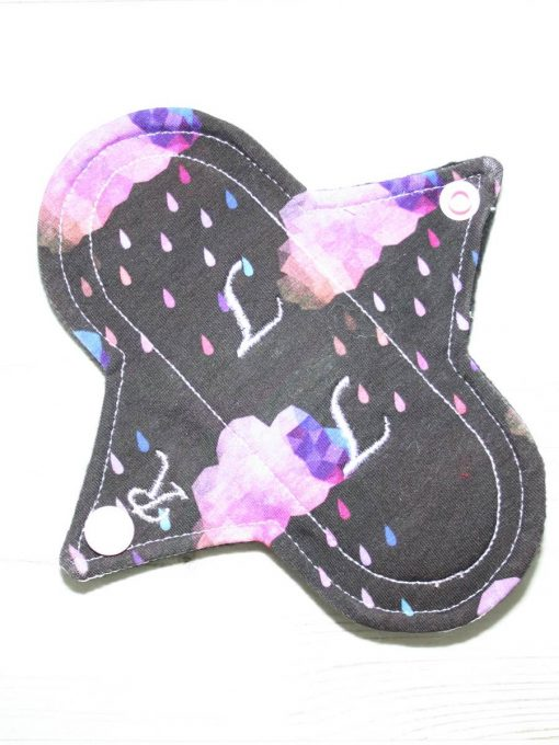 6″ Regular Flow cloth pad | Pink Clouds Cotton Jersey | Black Organic Cotton Fleece | Luna Landings | Sub