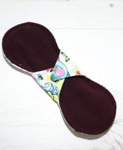 8″ Regular Flow cloth pad   Vintage Ponies Cotton Jersey   Burgundy Wind Pro Fleece   Luna Landings   Slim Sub