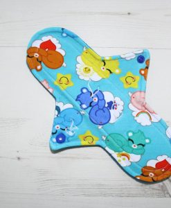 10″ Regular Flow cloth pad | Sleeping Cuties Cotton Jersey | Blue Wind Pro Fleece | Luna Landings | Sub