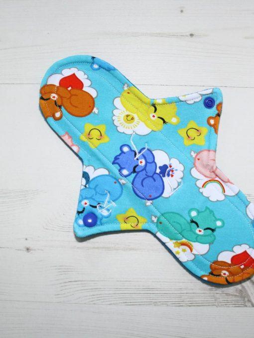 "10"" Regular Flow cloth pad | Sleeping Cuties Cotton Jersey | Blue Wind Pro Fleece | Luna Landings | Sub"