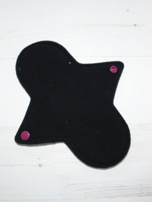 8″ Light Flow cloth pad | Bubbles Cotton Jersey | Black Wind Pro Fleece | Luna Landings | Sub