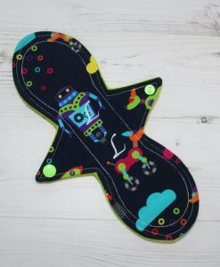 10″ Liner cloth pad | Robots Cotton Jersey | Green Wind Pro Fleece | Luna Landings | Slim Sub