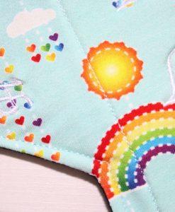 12″ Heavy Flow cloth pad | Rainbows on Mint Cotton Jersey | Black Wind Pro Fleece | Luna Landings | Double Flare