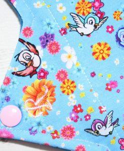 12″ Regular Flow cloth pad | Rose Birds Cotton | Blue Wind Pro Fleece | Luna Landings | Double Flare