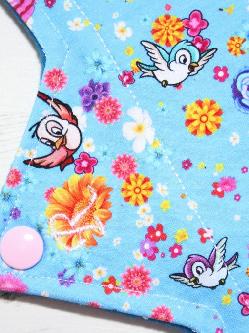 12″ Regular Flow cloth pad | Rose Birds Cotton | Blue Wind Pro Fleece | Luna Landings | Double Flare
