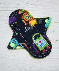 6″ Liner cloth pad | Robots Cotton Jersey | Green Wind Pro Fleece | Luna Landings | Sub