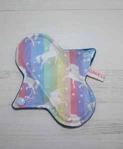 6″ Liner cloth pad | Soft Stripe Unicorn Cotton | Blue Wind Pro Fleece | Luna Landings | Sub
