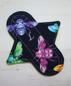 8″ Regular Flow cloth pad | Beeometry Cotton Jersey | Green Wind Pro Fleece | Luna Landings | Sub