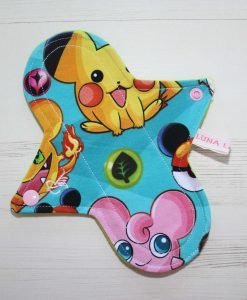 8″ Regular Flow cloth pad | Catch Em All Cotton Jersey | Green Wind Pro Fleece | Luna Landings | Sub